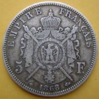 1868 BB 5 Francs En Argent Napoléon III Atelier De Strasbourg - France