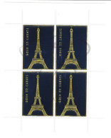 VEND BEAU BLOC DE 4 VIGNETTES , OR 22 CARATS, TOUR EIFFEL !!!! - Commemorative Labels