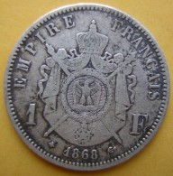 Napoléon III 1 Franc En Argent 1868 A - H. 1 Franco