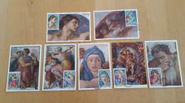 AJMAN EMIRATS ARABES UNIS 7 CARTES MAXIMUM CARD CM 28 JUIN 1970 MICHEL ANGE  /FREE SHIPPING REGISTERED - Ajman
