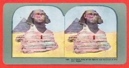 EGYPTE  Carte Stéréoscopique The Sphinx Pyramid Of Ghizeh - Pyramids