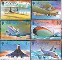 United Kingdom - Alderney 206-211 (complete Issue) Unmounted Mint / Never Hinged 2003 100 Years Motorflug - Alderney