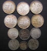 Joli Lot De 12 Monnaies Françaises En Argent , Mise à Prix à 1 Euro ! - Collezioni