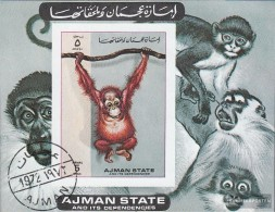 Ajman A 530B Miniature Sheet (complete.issue.) Fine Used / Cancelled 1973 Monkeys - United Arab Emirates