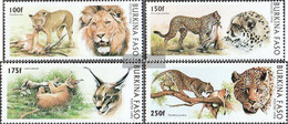 Burkina Faso 1437-1440 (complete.issue.) Unmounted Mint / Never Hinged 1996 Big Cats - Burkina Faso (1984-...)