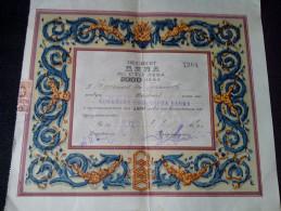 1946-5000 Lev Bond Share Sofia Popular Bank Shareholdings CERTIFICATE  KINGDOM OF BULGARIA RARE BULGARIEN - Banque & Assurance
