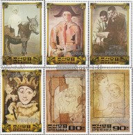 North-Korea 2223-2228 (complete.issue.) Fine Used / Cancelled 1982 Pablo Picasso - Korea (Nord-)