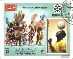 Yemen (UK) Block220 (complete Issue) Fine Used / Cancelled 1970 Winner Football-WM '70, Mexico - Yemen