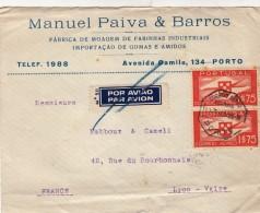 DEVANT DE LETTRE PORTUGAL POR AVIAO  MANUEL PAIVA & BARROS PORTO POUR LA FRANCE/ 4871 - Portugal