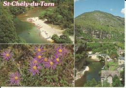 Plage Et Site De St-Chély-du-Tarn (469m) Au Fond, Le Causse De Sauveterre - - Other Municipalities