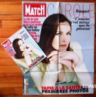 1 HEBDOMADAIRE PARIS MATCH 20 FEVRIER 1997 N°2491 + 1 AFFICHE 59X76cm LES DEUX SONT NEUFS CAROLE BOUQUET TAPIE A LA SAN - Affiches
