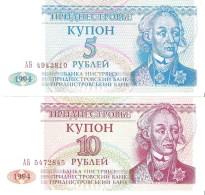 Transnistria - Pick 17,18 - 5,10 Rublei 1994 - Unc - Set 2 Banknotes - Banconote