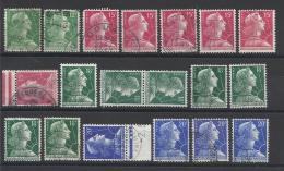 FRANCE - LOT DE 19 TIMBRES OBLITERES - COTE YT : 6.80€ - 1955