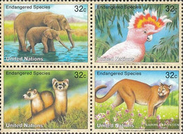 UN - New York 732-735 Block Of Four (complete Issue) Unmounted Mint / Never Hinged 1997 Affected Animals - New York – UN Headquarters