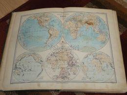 Welt World Europa America Africa Asia Russia Australia England Germany France Spain India China Karte Map 47x39 Cm ~1882 - Carte Geographique