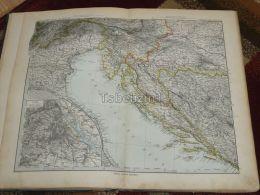 Österreich Italy Croatia Slovenia Bosnia Hercegovina Hungary Wien Karte Map 47x39 Cm ~1882 - Carte Geographique