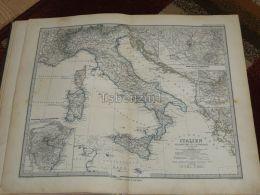 Italy Croatia Sicilia Roma Etna Turin Malta Corsica Sardinien Karte Map 47x39 Cm ~1882 - Geographical Maps