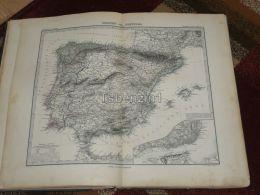 Spain Portugal Mallorca Ibiza Gibraltar Lisabon Lisboa France Karte Map 47x39 Cm ~1882 - Geographical Maps