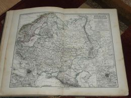 Russia Norway Sweden Finnland Poland Moscow St. Petersburg Scandinavia Karte Map 47x39 Cm ~1882 - Carte Geographique