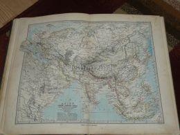 Asia Europa Africa Russia India China Arabia Mongolia Skandinavia Karte Map 47x39 Cm ~1882 - Geographical Maps