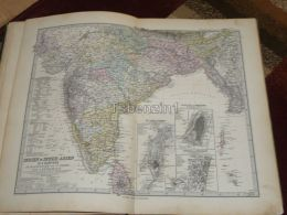 Asia India Bombay Bengal Burma Nepal Bhutan Madras Calcutta Ceylon Karte Map 47x39 Cm ~1882 - Geographical Maps