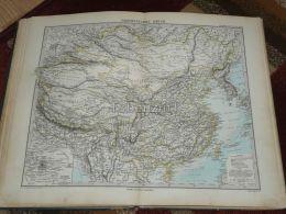 Asia China Burma Tibet Russia Mongolia Korea Nepal Turkestan Taiwan Peking Karte Map 47x39 Cm ~1882 - Geographical Maps