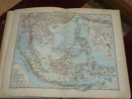 India Asia Sumatra Siam Burma Taiwan Borneo Philippines Java Timor Cambodia Singapur Map 47x39 Cm ~1882 - Geographical Maps