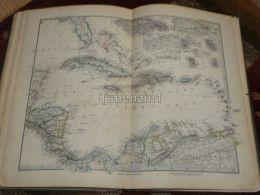 Cuba Haiti Portorico Columbia Venezuella Honduras Nicaragua Florida Bahama Jamaica Habana Dominica Map 47x39 Cm ~1882 - Geographical Maps