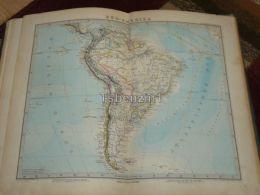 South America Brasilia Argentina Venezuela Ecuador Columbia Bolivia Urugay Peru Guaiana Map 47x39 Cm ~1882 - Geographical Maps