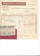 F4 - Facture Orell Füssli Annonces Sion 18.11.1927 Encart Publicitaire Aloïs Schulthess Sierre - Suisse