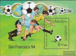 Laos Block147 (complete Issue) Fine Used / Cancelled 1993 Football-WM '94, U.S. - Laos