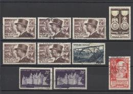FRANCE - LOT DE 10 TIMBRES OBLITERES - COTE YT : 6.60€ - 1952 - Frankrijk