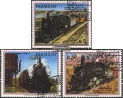 Paraguay 3994-3996 (complete Issue) Fine Used / Cancelled 1986 Goods Train Locomotives - Paraguay