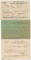 Ville De Vichy. Taxe De Séjour. Lot De 3 Cartes De  1921, 1922 & 1926. - Documents Historiques