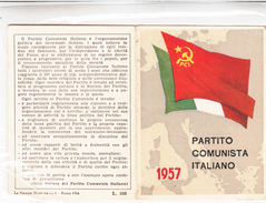 TESSERA-1957-PARTITO  COMUNISTA ITALIANO-OTTIMA CONSERVAZIONE-2 SCAN - Publicités