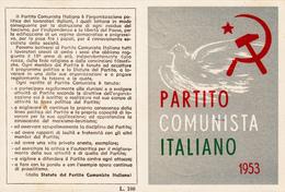 TESSERA-1953-PARTITO  COMUNISTA ITALIANO-OTTIMA CONSERVAZIONE-2 SCAN - Pubblicitari