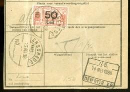 BEWIJS VAN VERZENDING Uit 1938 Van ENSCHEDE Naar DEVENTER Met SPOORWEGZEGEL (10.475a) - Periode 1891-1948 (Wilhelmina)