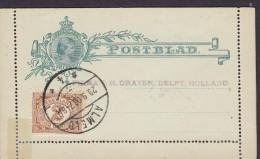 Netherlands Uprated Postal Stationery Ganzsache Wilhelmina Postblad ALMELD 1908 Firma J.H. DRAYER, DELFT (Arr.)(2 Scans) - Postal Stationery