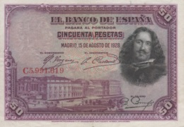 (B0348) SPAIN, 1928. 50 Pesetas. P-75b. XF - [ 1] …-1931 : Premiers Billets (Banco De España)