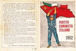 TESSERA-1952-PARTITO  COMUNISTA ITALIANO-PROV. TORINO-OTTIMA CONSERVAZIONE-2 SCAN - Pubblicitari