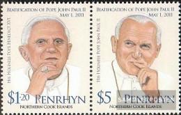 Penrhyn 668-669 Couple (complete Issue) Unmounted Mint / Never Hinged 2012 Pope Johannes Paul II. - Penrhyn