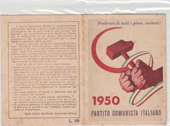 TESSERA-1950-PARTITO  COMUNISTA ITALIANO-PROV. ASTI-OTTIMA CONSERVAZIONE-2 SCAN - Pubblicitari