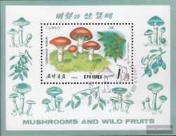 North-Korea Block244 (complete Issue) Fine Used / Cancelled 1989 Mushrooms And Berries - Korea, North
