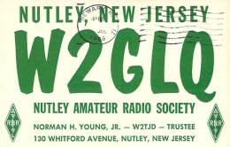 Amateur Radio QSL - W2GLQ Nutley Amateur Radio Society - Nutley, NJ -USA- 1966 - 2 Scans - Radio Amateur