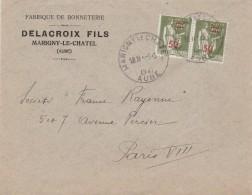 Marigny Le Châtel (Aube) : T. à D. Horoplan / 480 (paire) Sur Env. Commerciale DELACROIX Fils. - Manual Postmarks