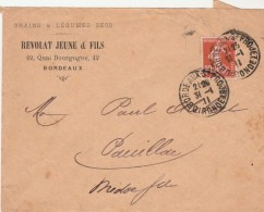 Yvert 138 Semeuse Sur Lettre Entête Revolat Grains & Légumes Secs Bordeaux St Projet  31/1/1911 - Francia