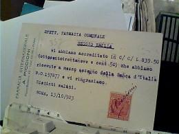 ROMA  FARMACIA PICCIONI PUBBLICITA CREME  GOCCE SHAMPO E BORO TALCO TRE TESTE   V1923 FN3964 - Santé & Hôpitaux