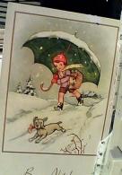 BAMBINO CON OMBRELLO CANE DOG ILLUSTRATA  BUON NATALE  N1950 FN3966 - Natale