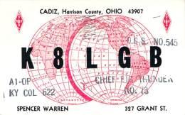 Amateur Radio QSL - K8LGB - Cadiz, OH -USA- 1968 - 2 Scans - Radio Amateur