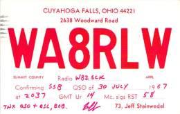 Amateur Radio QSL - WA8RLW - Cuyahoga Falls, OH -USA- 1967 - 2 Scans - Radio Amateur